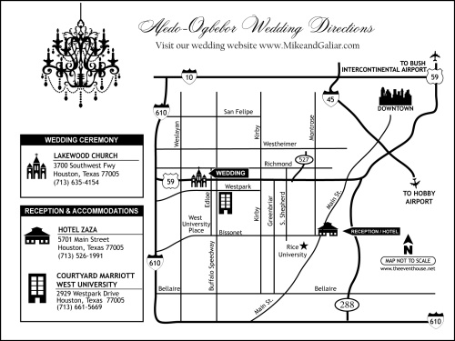 Custom Wedding Map Showing Wedding Website at Event House