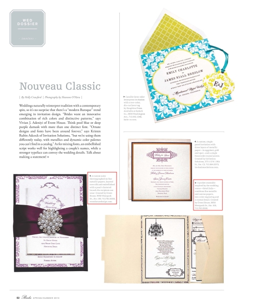 Event House - Invitations in Houston - Featured in the Modern Luxury Houston Brides Magazine