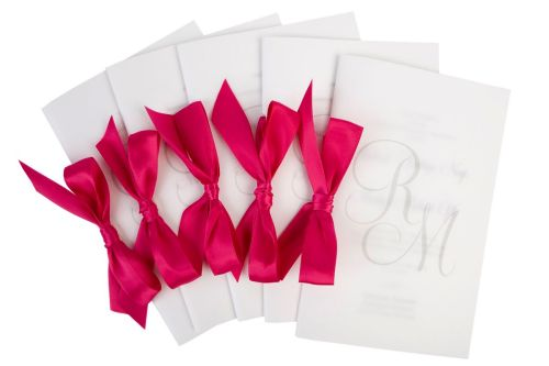 Custom Wedding Programs with vellum cover at Event House Houston
