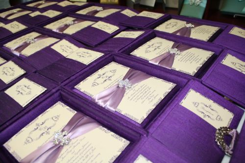 Silk Wedding Invitation Boxes - Couture Luxury Invitations by Event House Houston