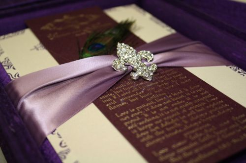 Silk Invitations with fleur de lis brooch embellishments - Couture Luxury Invitations by Event House Houston