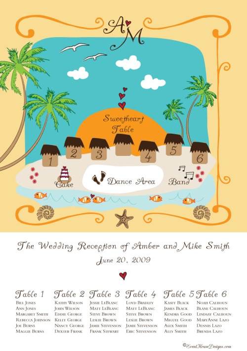 Hand drawn destination wedding seating chart for Jamaica at Event House Houston