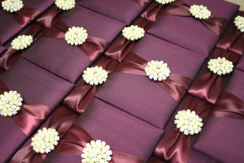Couture Silk Wedding Invitations in Aubergine at Event House