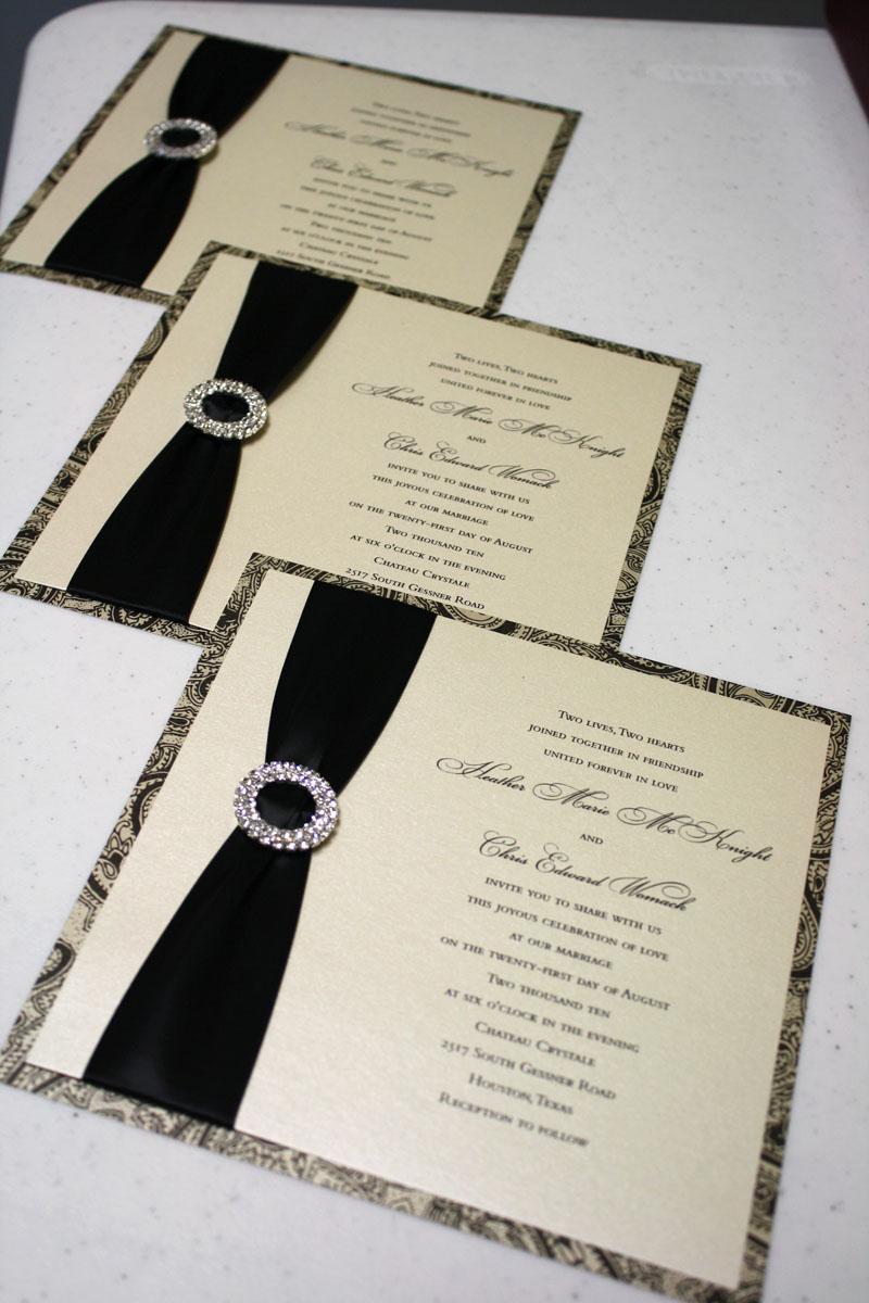 custom wedding invitations custom wedding invitations Black and Ivory Rhinestone Buckled Jeweled Custom Wedding Invitations at Event House