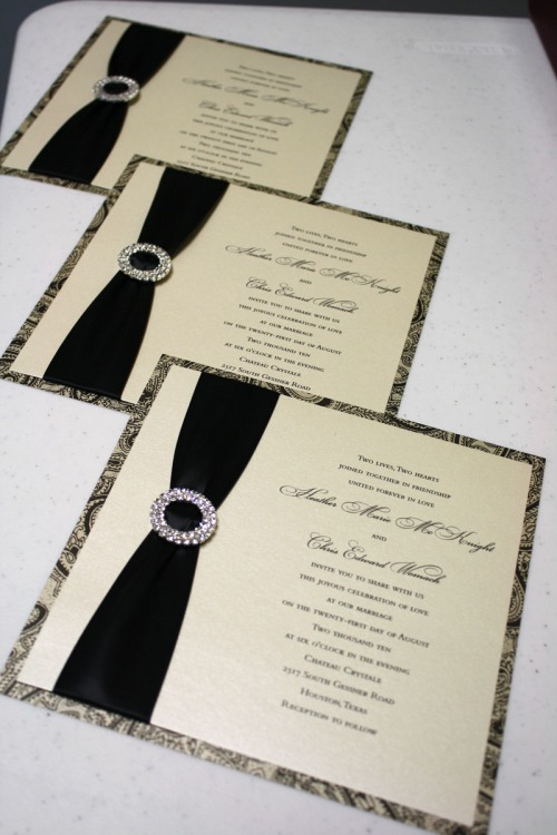 Black and Ivory Rhinestone Buckled/Jeweled Custom Wedding Invitations at Event House
