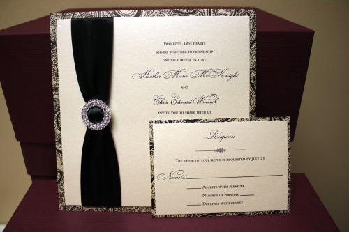Black and Ivory Rhinestone Buckled/Jeweled Custom Invitations at Event House