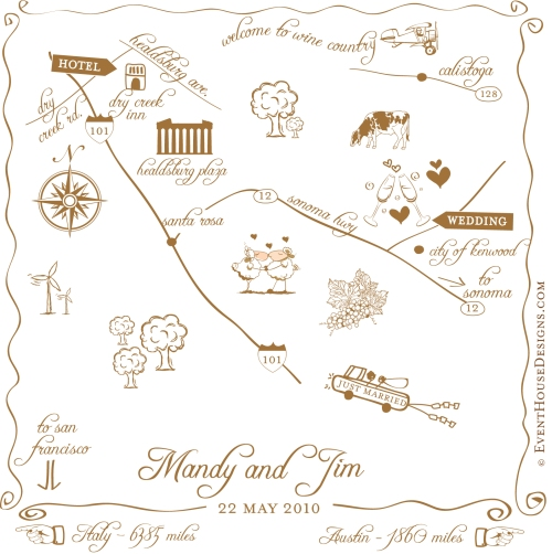 Hand drawn wedding maps by Event House Houston