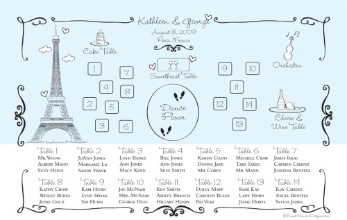 Hand Drawn Destination Wedding Seating Chart for Paris at Event House Houston